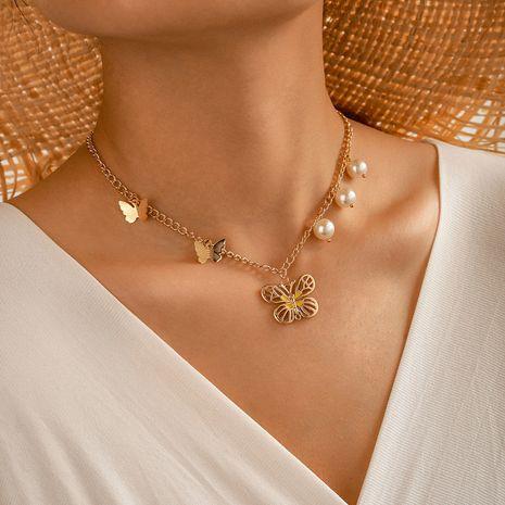 Collier papillon dégoulinant d'alliage collier simple couche de perles de mode NHGY236090's discount tags