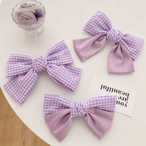 Purple large bow hairpin back head clip sweet girl top clip spring clip headdress wholesale nihaojewelry NHOF236108's discount tags