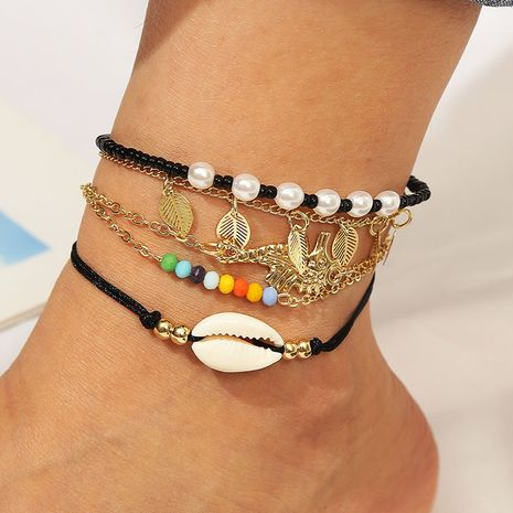beach style handmade beaded shell leaf set anklet Bohemian multilayer woven body chain wholesale nihaojewelry NHLA236128's discount tags