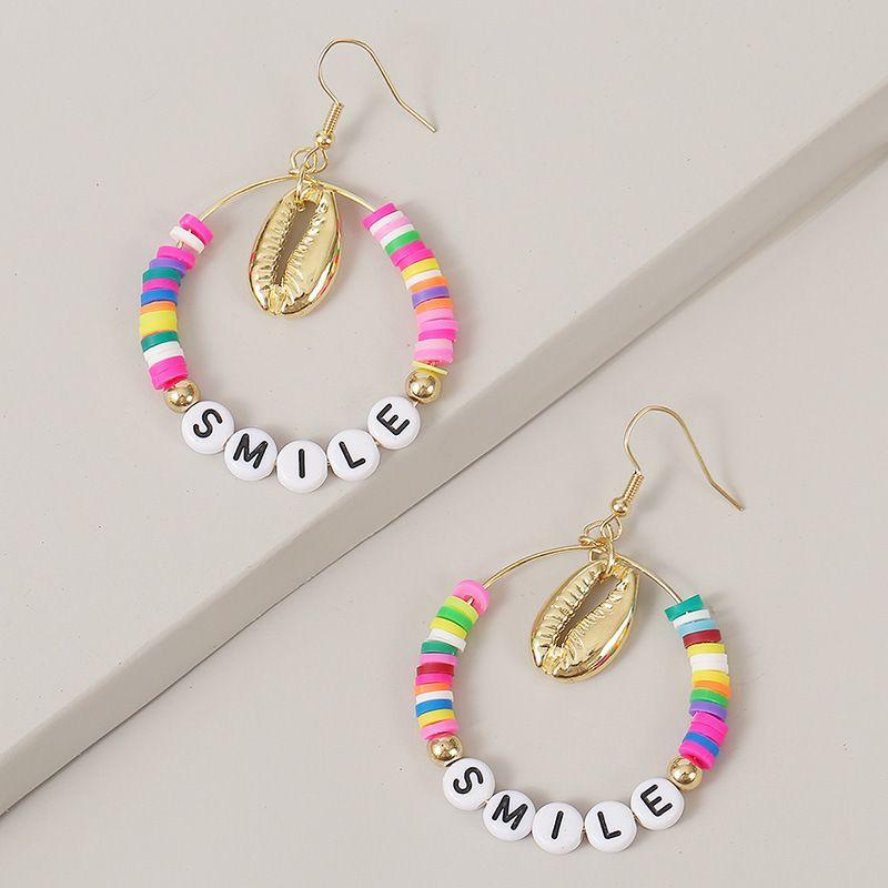 creative rice beads SMILE fashion letter earrings trend long earrings jewelry wholesale nihaojewelry NHLA236132