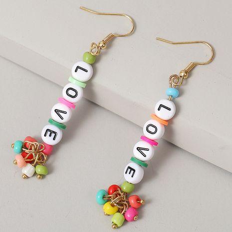 Carta de AMOR largos pendientes de cuentas de arroz pendientes creativos tejidos a mano joyería al por mayor nihaojewelry NHLA236133's discount tags
