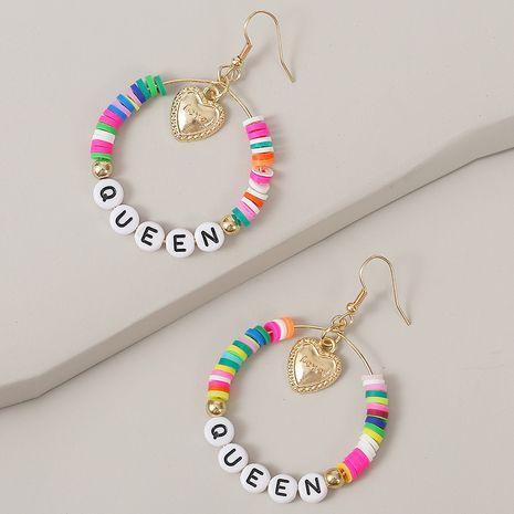 QUEEN handmade love letter earrings geometric beaded earrings jewelry wholesale nihaojewelry NHLA236135's discount tags