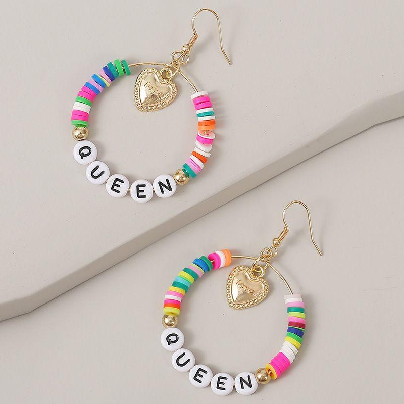 QUEEN handmade love letter earrings geometric beaded earrings jewelry wholesale nihaojewelry NHLA236135