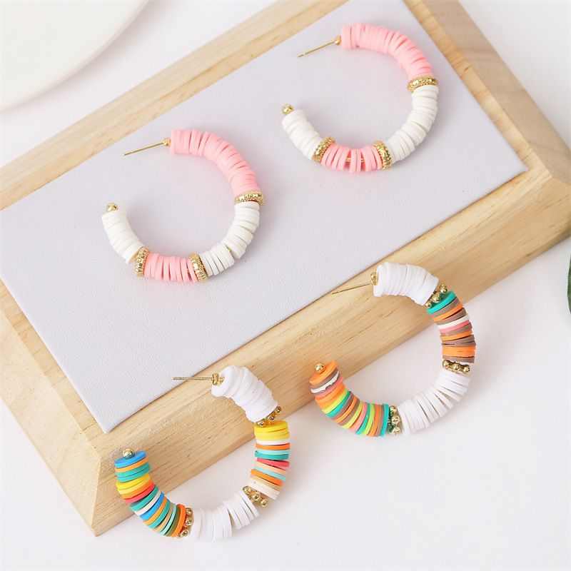 fashion trend handmade soft clay Cshaped beaded earrings color earring jewelry wholesale nihaojewelry NHLA236136
