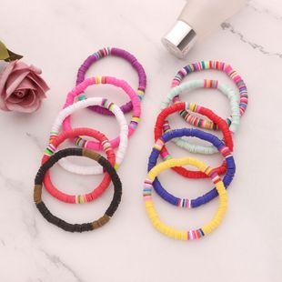new bohemian beach style bracelet color soft pottery pearl elastic rope bracelet wholesale nihaojewelry NHLL236140's discount tags