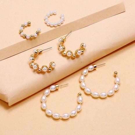 fashion simple style 3-piece earrings hot sale C-shaped pearl combination earrings set wholesale nihaojewelry NHKQ236142's discount tags