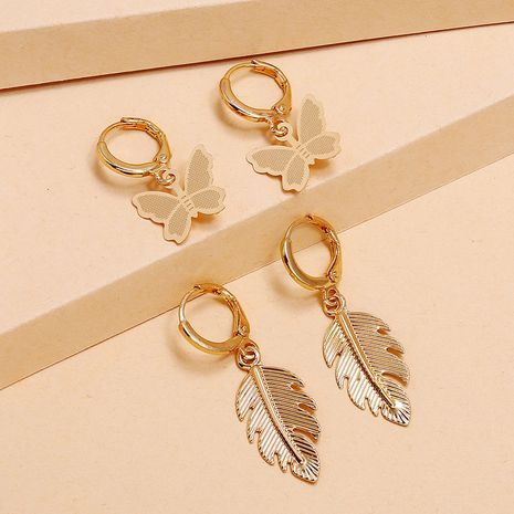 Fashion retro alloy earrings simple trendy leaf butterfly 2-piece earrings set wholesale nihaojewelry NHKQ236144's discount tags