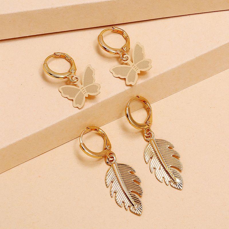 Fashion retro alloy earrings simple trendy leaf butterfly 2-piece earrings set wholesale nihaojewelry NHKQ236144