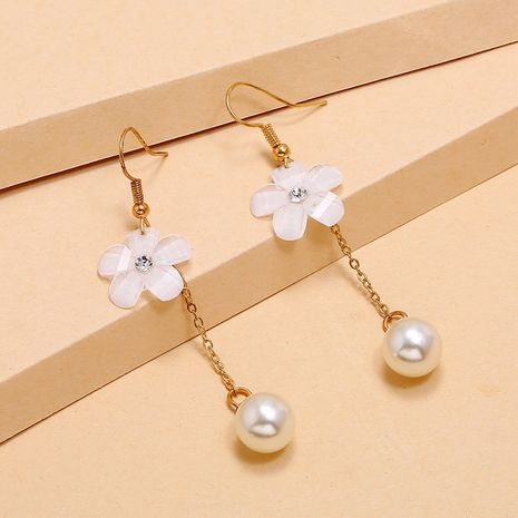 fashion new flower pearl tassel earrings simple trend long earrings wholesale nihaojewelry NHKQ236149's discount tags