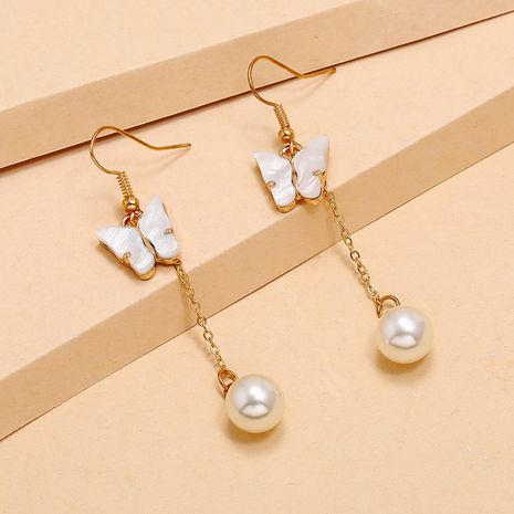 Korean Fashion long tassel earrings simple flower pearl earrings wholesale nihaojewelry NHKQ236150's discount tags