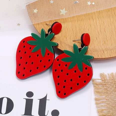 Korea new sweet and cute fruit earrings simple acrylic strawberry earrings wholesale nihaojewelry NHKQ236152's discount tags