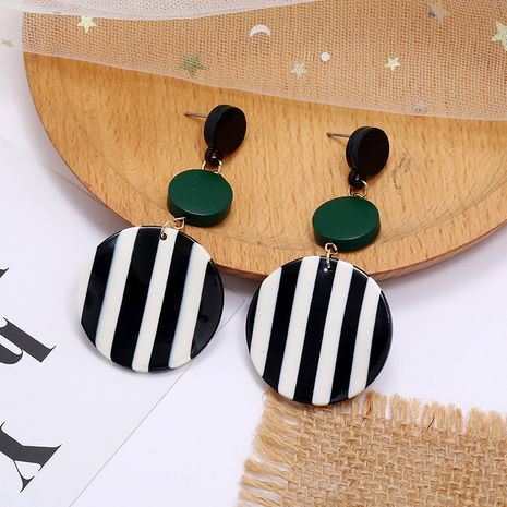 Korean fashion new style long earrings simple and exaggerated black and white stripes hit color resin round earrings wholesale nihaojewelry NHKQ236156's discount tags