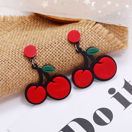 fashion sweet cute fruit earrings simple and trendy exaggerated red cherry earrings wholesale nihaojewelry NHKQ236155's discount tags