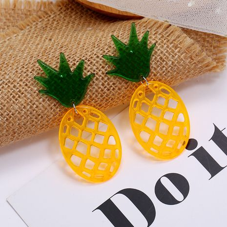 Korea creative exaggerated transparent cute sweet pineapple earrings fashion hollow resin fruit earrings wholesale nihaojewelry NHKQ236157's discount tags
