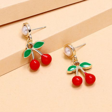 Korean sweet girl dripping cherry earrings fashion creative lovely fruit earrings wholesale nihaojewelry NHKQ236158's discount tags
