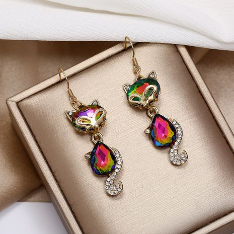 Fashion creative earrings Korea simple retro color diamond fox long earrings wholesale nihaojewelry NHKQ236159's discount tags