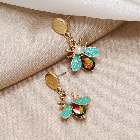 colorful diamond earrings Korea simple exquisite insect pearl earrings wholesale nihaojewelry NHKQ236162's discount tags