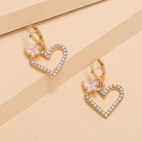 Korea cute girl diamond pink butterfly hollow love earrings fashion simple sweet earrings wholesale nihaojewelry NHKQ236160's discount tags