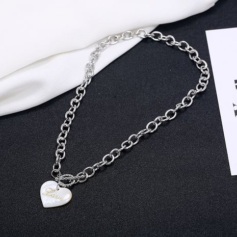 Punk necelaces fashion trend love heart pendant necklace simple cold wind shell heart-shaped letter clavicle chain NHKQ236164's discount tags