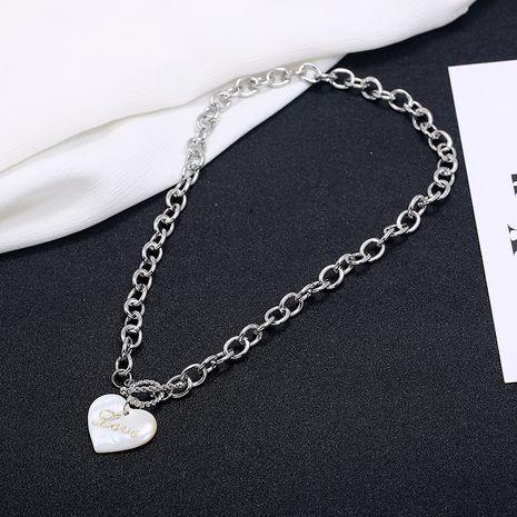 Punk necelaces moda tendencia amor corazón colgante collar simple concha de viento frío carta en forma de corazón cadena de clavícula NHKQ236164's discount tags