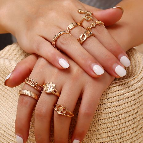 Korea new 9-piece ring fashion trend geometric hollow heart-shaped snake-shaped set ring wholesale nihaojewelry NHKQ236166's discount tags