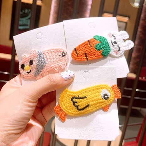 small hairpin  wool cartoon BB clip Korean sweet and cute side clip headdress wholesale nihaojewelry NHSA236181's discount tags