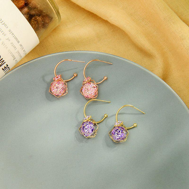 Creative new design earrings s925 silver needle earrings zircon flower earrings wholesale nihaojewelry NHQD236185