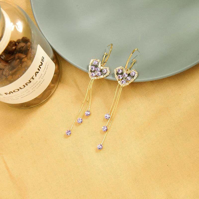 New s925 silver needle earrings long tassel earrings zircon love earrings wholesale nihaojewelry NHQD236189