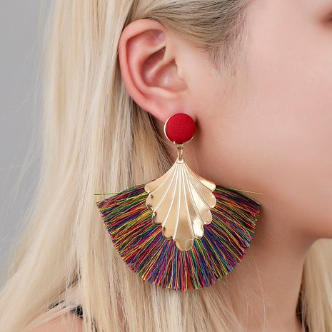 new earrings Bohemia fan-shaped tassel earrings fashion ripple design texaggerated earrings wholesale nihaojewelry NHCU236213's discount tags