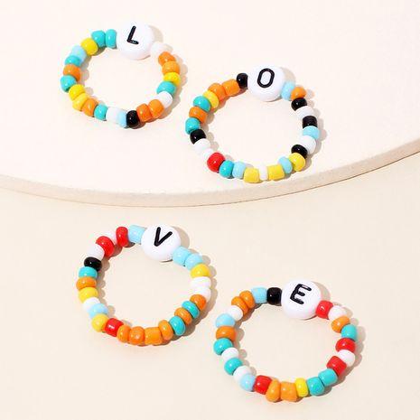 vente chaude nouvelle couleur simple perles de riz LOVE bague lettre 4 ensembles de bague en gros nihaojewelry NHRN236218's discount tags