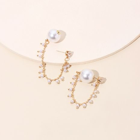 Korea's designer pearl earrings high-end sense of long tassel rhinestone earrings wholesale nihaojewelry NHRN236217's discount tags