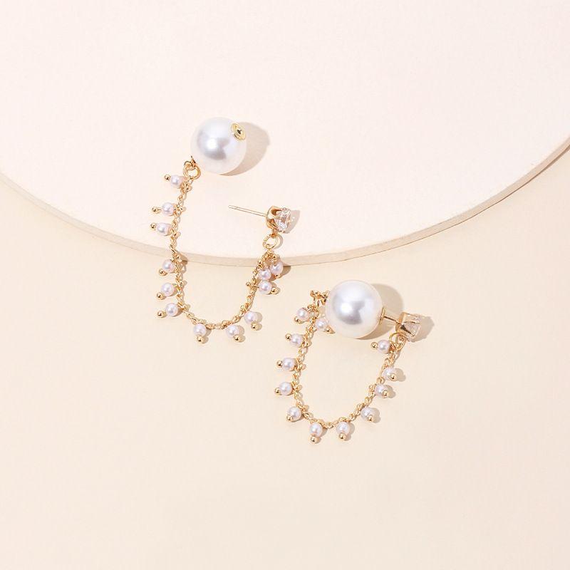 Koreas designer pearl earrings highend sense of long tassel rhinestone earrings wholesale nihaojewelry NHRN236217