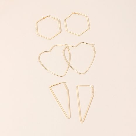 new trendy exaggerated fashion retro hexagonal simple triangle heart-shaped metal earrings wholesale nihaojewelry NHRN236220's discount tags