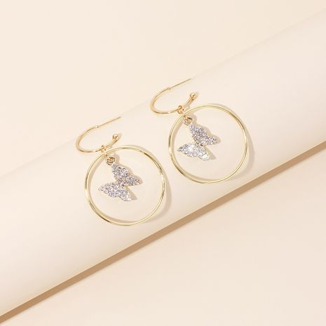 fashion diamond-studded geometric big circle earrings butterfly pendant rhinestone earrings wholesale nihaojewelry NHRN236227's discount tags