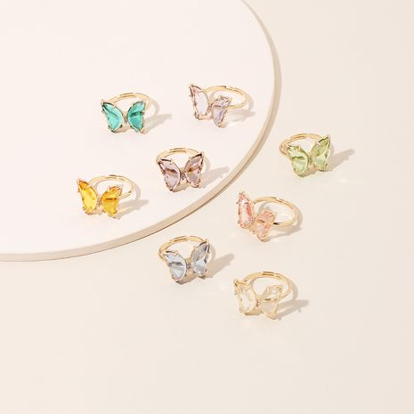 acrylic butterfly color transparent ring trendy girl simple fashion ring wholesale nihaojewelry NHRN236231's discount tags
