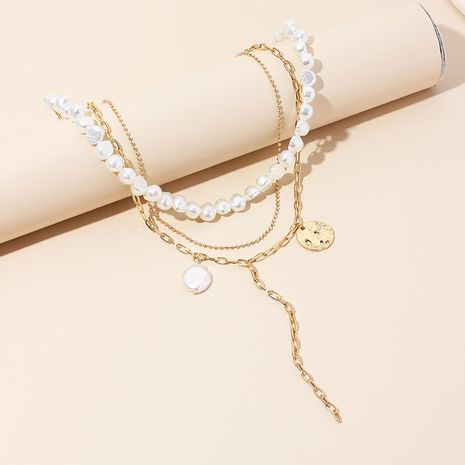 Multi-layer women's pearl necklace simple disc tassel chain clavicle necklace sweater chain NHRN236234's discount tags