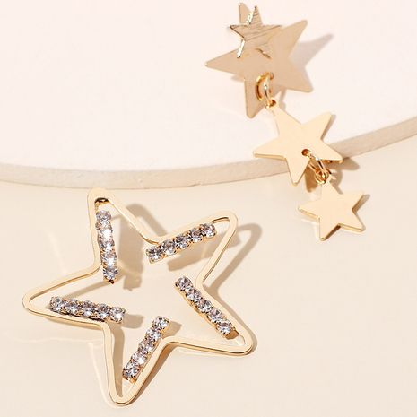 micro-inlaid five-pointed star earrings exaggerated geometric star hollow asymmetrical earrings NHRN236236's discount tags