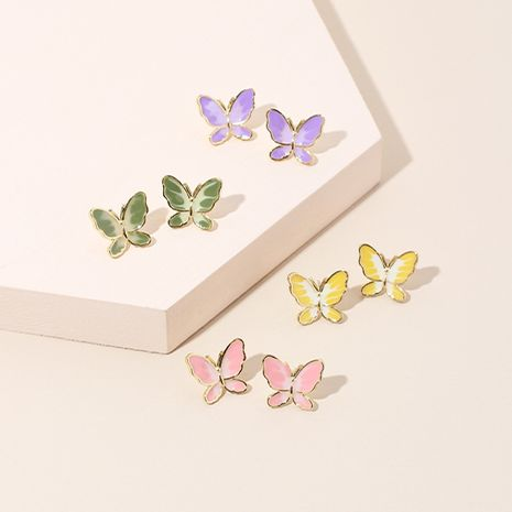 simple two-color butterfly 925 silver needle earrings Korean trendy earrings wholesale nihaojewelry NHRN236238's discount tags