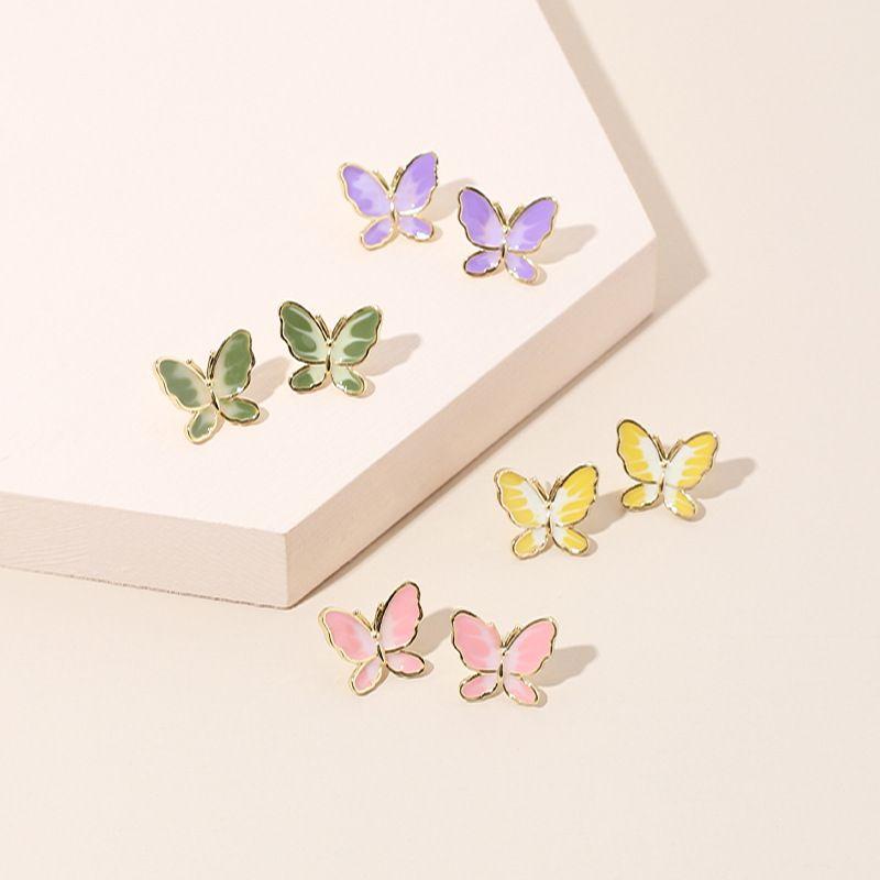 simple two-color butterfly 925 silver needle earrings Korean trendy earrings wholesale nihaojewelry NHRN236238