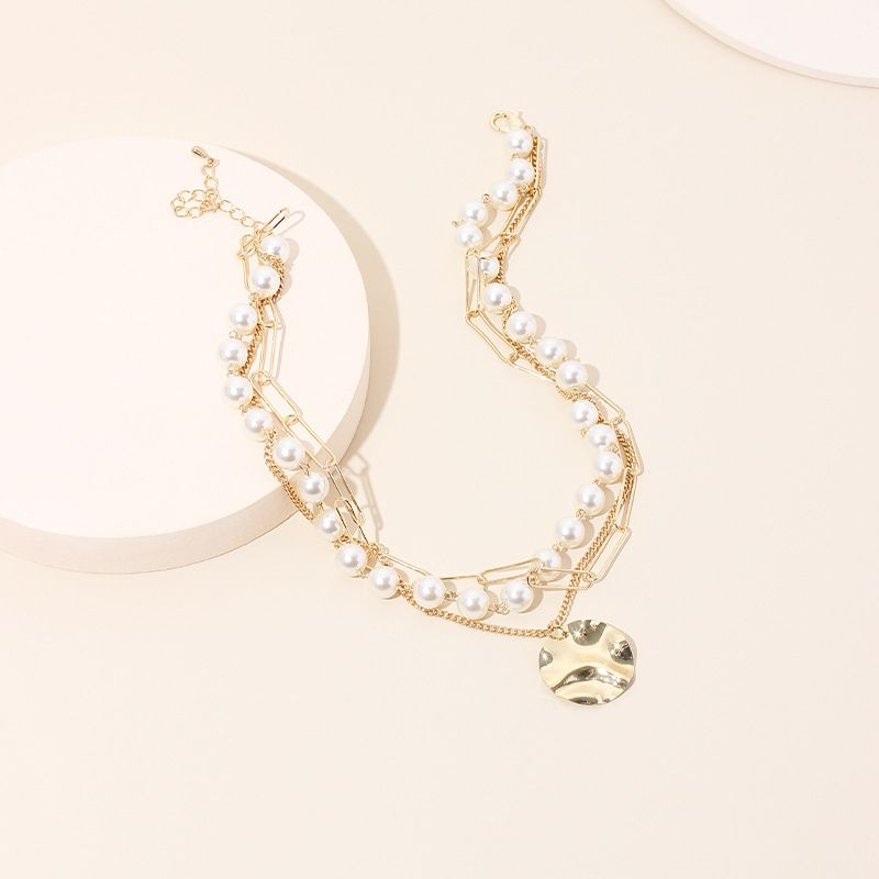 Fashion multilayer pearl disc necklace simple fashion short clavicle necklace  NHRN236239