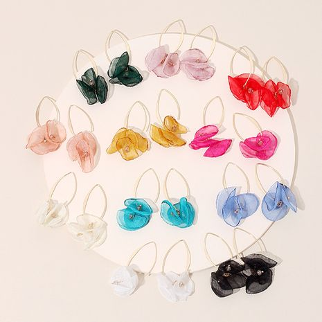 Korean summer new lace mesh flower earrings color petal earrings wholesale nihaojewelry NHRN236244's discount tags