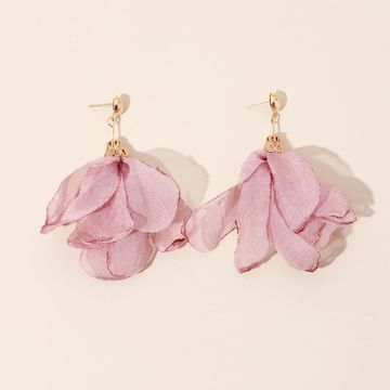 summer new fabric hand-woven flower earrings polyester mesh petal earrings wholesale nihaojewelry NHRN236245