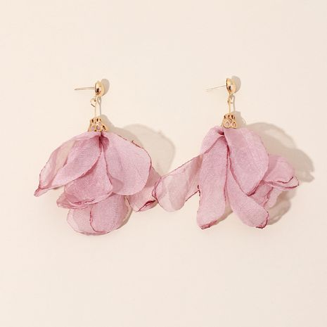 summer new fabric hand-woven flower earrings polyester mesh petal earrings wholesale nihaojewelry NHRN236245's discount tags