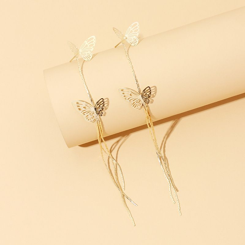 new hollow simple long tassel butterfly earrings exaggerated earrings wholesale nihaojewelry NHRN236247