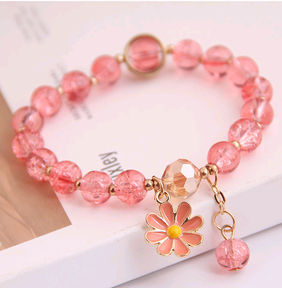 Korean fashion simple small daisy pendant crystal beads  bracelet wholesale nihaojewelry NHSC236259