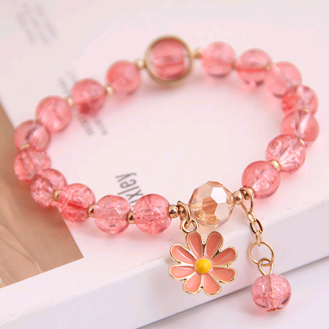 Korean fashion simple small daisy pendant crystal beads  bracelet wholesale nihaojewelry NHSC236259's discount tags