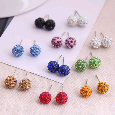 Korean fashion sweet OL diamond ball earrings wholesale nihaojewelry NHSC236256's discount tags