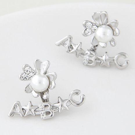 Mode de style coréen simple lettre boucles d'oreilles de fleurs douces en gros nihaojewelry NHSC236254's discount tags