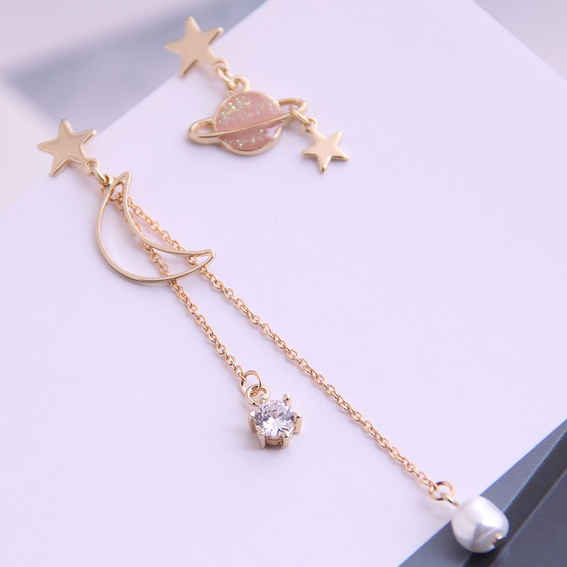 Boutique Korean fashion sweet star and moon asymmetrical earrings wholesale nihaojewelry NHSC236253