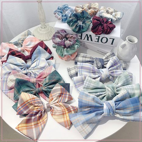uniform large intestine hair scrunchies big bow hairpin navy style hair accessory set wholesale nihaojewelry NHOF236109's discount tags